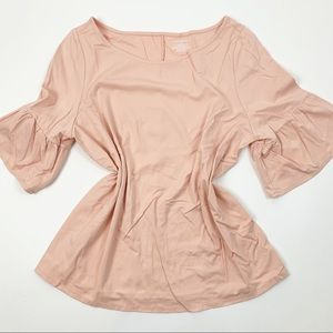 Lane Bryant Pink Short Bell Sleeve Scoop Neck Top